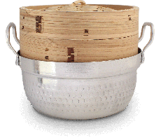 Steam basket bamboo 1 layer with pan Ø18 cm 1 ST